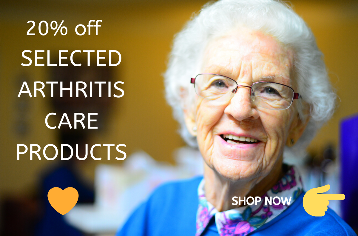 arthritis care products offer - elderly happy woman